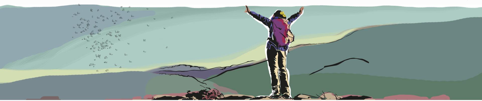 Homem faz caminhada pela montanha livre de mosquitos