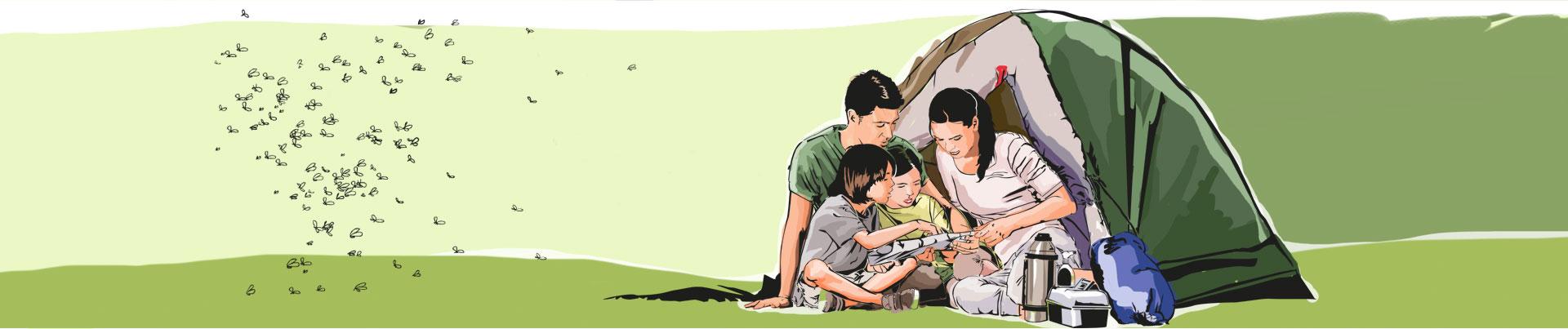 Família se diverte em um camping livre de insetos