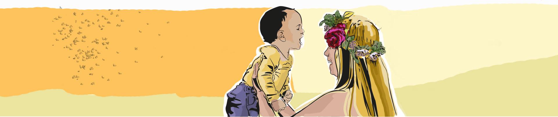 Mãe e filho se divertem ao ar livre