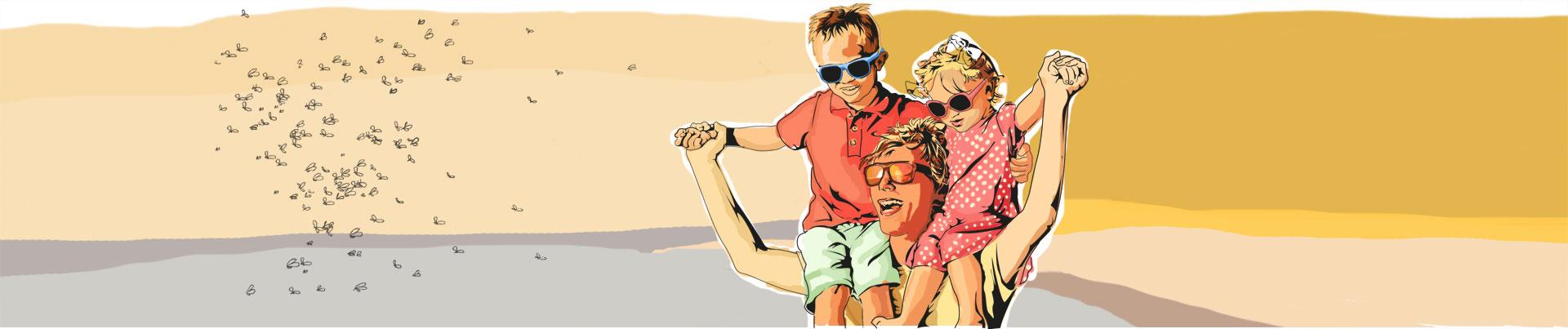 Pai se diverte com o filho e a filha ao ar livre