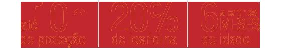 Até 10 horas de proteção 20% picaradina Pode ser usado em crianças com idade a partir de 6 meses